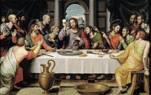 L' Ultima Cena, detta anche Istituzione dell'Eucaristia, dipinto del 1562 circa, olio su tavola, Juan de Juanes (1507 ca. – 1579). Proveniente dall'altare maggiore della Chiesa di Santo Stefano di Valencia ed attualmente conservato al Museo del Prado di Madrid (Spagna).